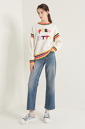 Color block embroidery knit sweater