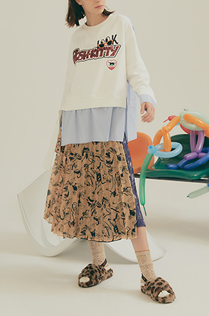 Print pleats wrap-around skirt