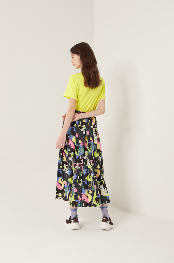 Print pleats skirt