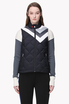 [PERFECT MOMENT] Color patch quilting goose down vest