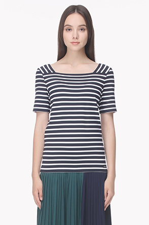 [SAINT JAMES] Square neck stripe T shirt