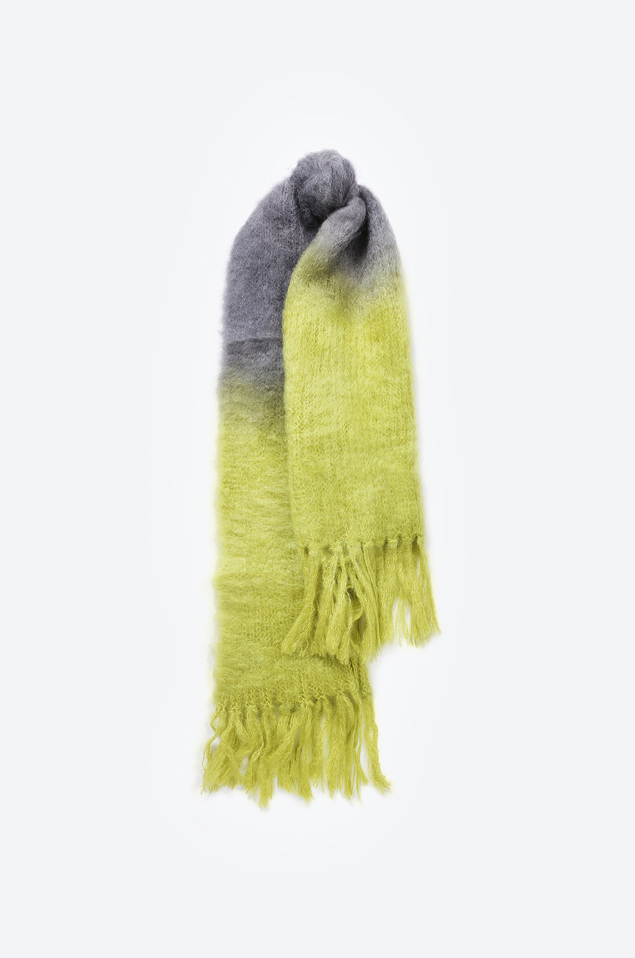 Hinterveld Two Tone Gradation Mohair Wool Knit Muffler Scarf Muffler Fashion Acc Women Handsome Thehandsome Com